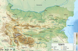 Detailed physical map of Bulgaria.