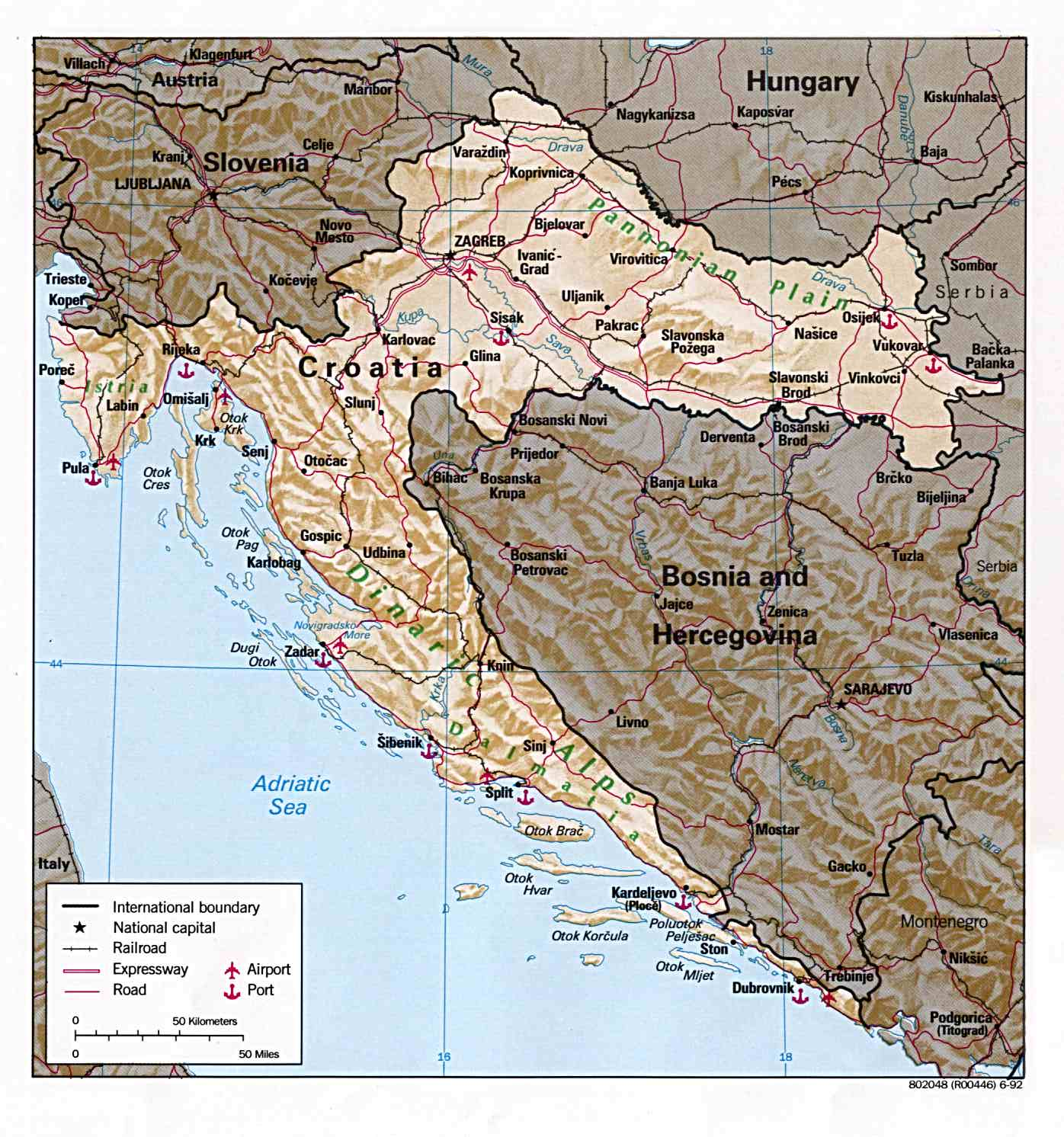 Maps of croatia detailed map of croatia in english tourist map political map of croatia with relief gumiabroncs Gallery