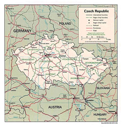 Detailed political and administrative map of Czech Republic.