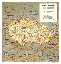 Detailed political and administrative map of Czech Republic with relief.
