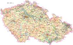 Detailed road and physical map of Czech Republic with all cities.