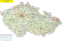 Detailed road map of Czech Republic with all cities.
