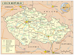 Large detailed political map of Czech Republic with all cities, roads and airports.