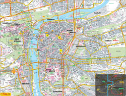 Large detailed road and tourist map of Prague city.
