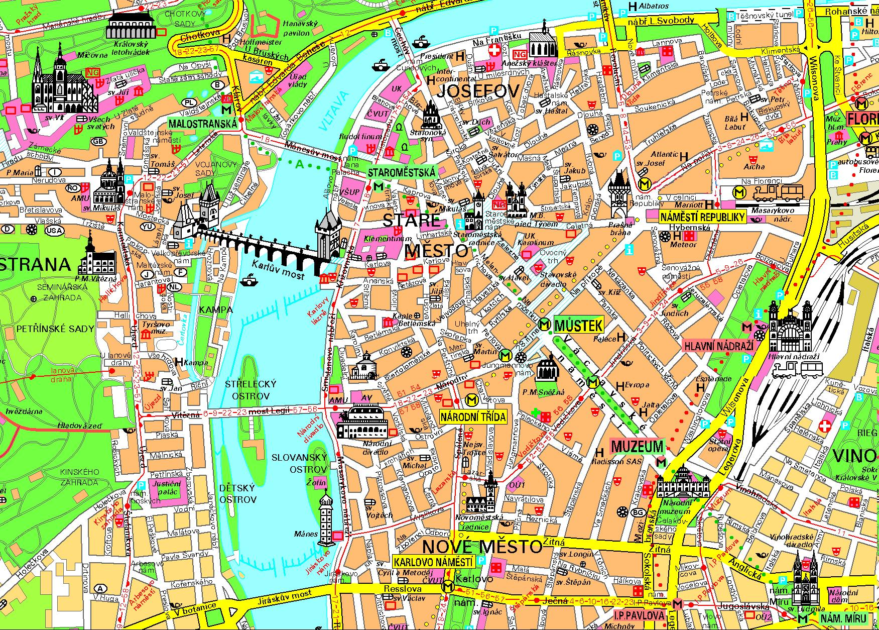 maps of prague  detailed map of prague in english  maps of  - tourist map of prague city center