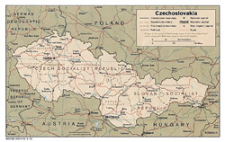 Old political map of Czechoslovakia.