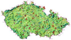 Tourist map of Czech Republic.
