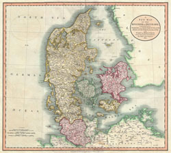 Detailed old map of Denmark with cities 1801.