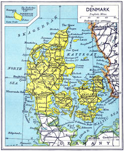 Detailed old road map of Denmark 1941.