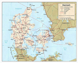 Detailed political and administrative map of Denmark.