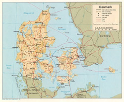 Detailed political and administrative map of Denmark with relief.