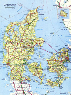 Detailed road map of Denmark with cities.