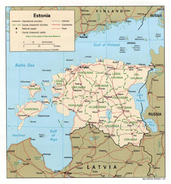 Political and administrative map of Estonia.