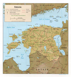 Political and administrative map of Estonia with relief.