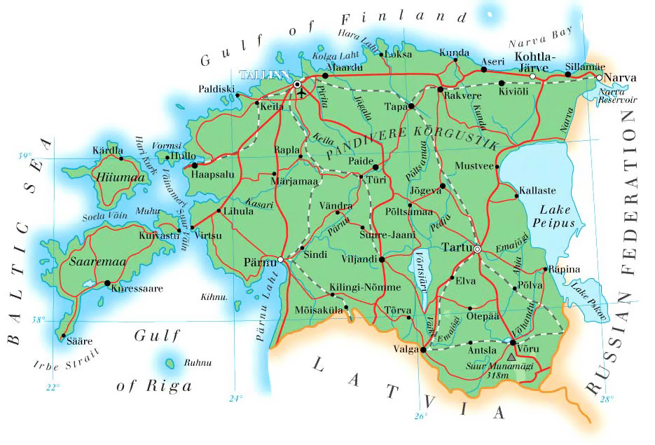 Maps of Estonia | Detailed map of Estonia in English | Tourist map ...