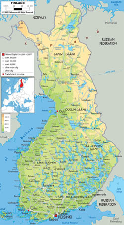 Detailed physical map of Finland with cities, roads and airports.