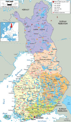 Detailed political and administrative map of Finland with cities, roads and airports.