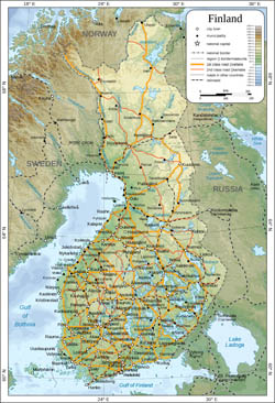 Large physical map of Finland with cities, roads and railways.
