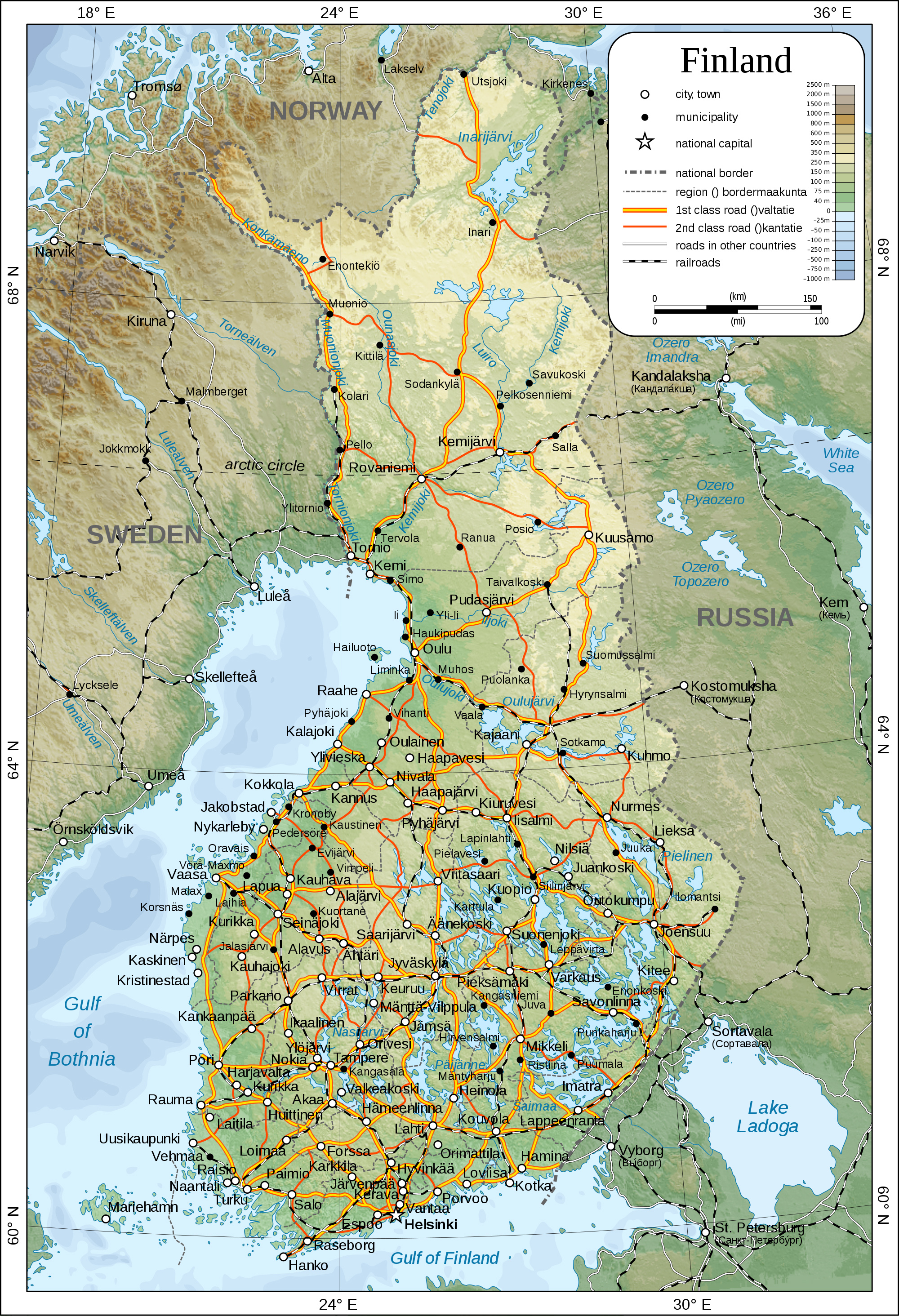 Maps of Finland Detailed map of Finland in English Travel map of