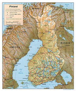 Political and administrative map of Finland with relief.
