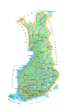 Road map of Finland.