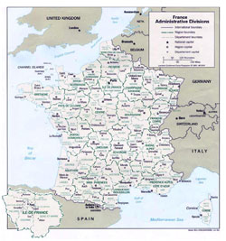 Administrative map of France.