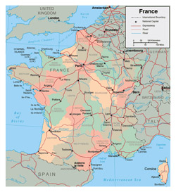Detailed administrative map of France.