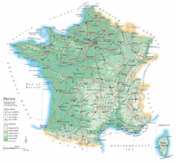 Detailed physical map of France with roads and cities.