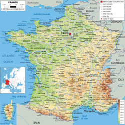 Detailed physical map of France with roads, cities and airports.