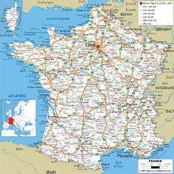 Detailed road map of France with cities and airports.