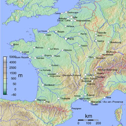 Physical map of France.