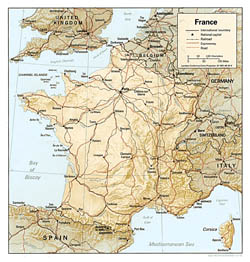 Political map of France with relief.