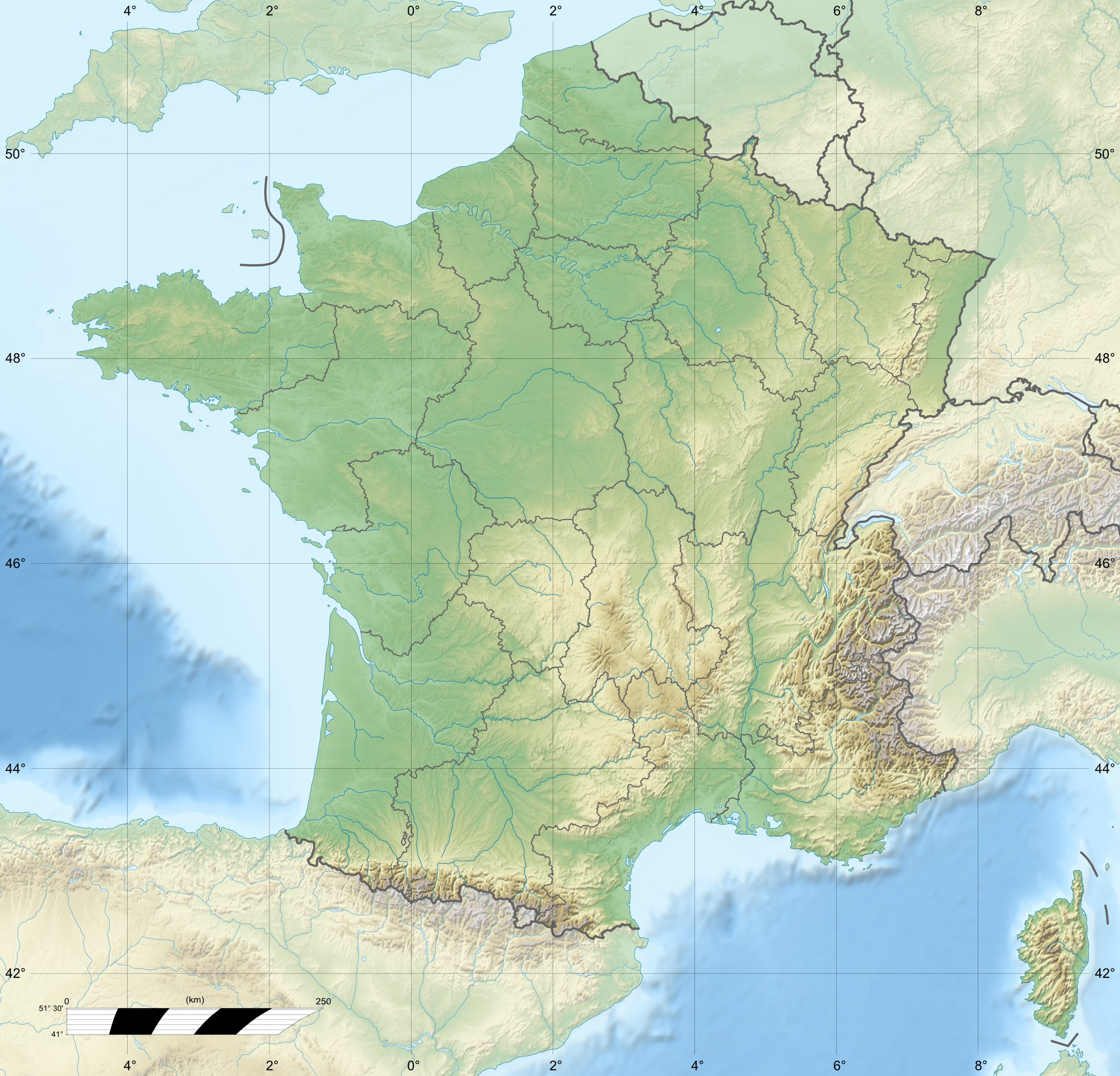 Maps of france detailed map of france in english for Porte et fenetre verdun st basile