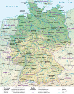 Detailed administrative map of Germany with relief.