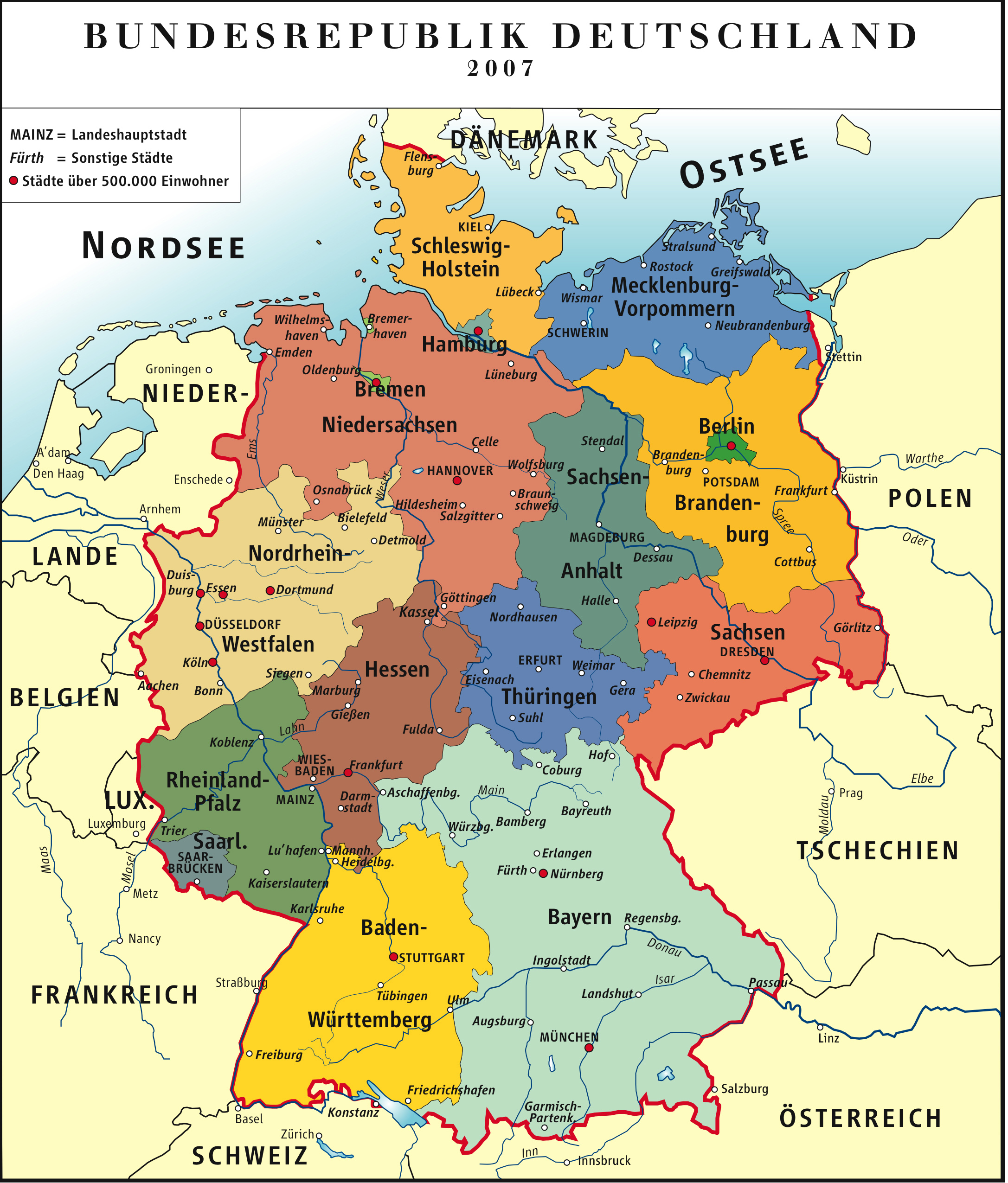Captivating Detailed Administrative Map Of Germany.