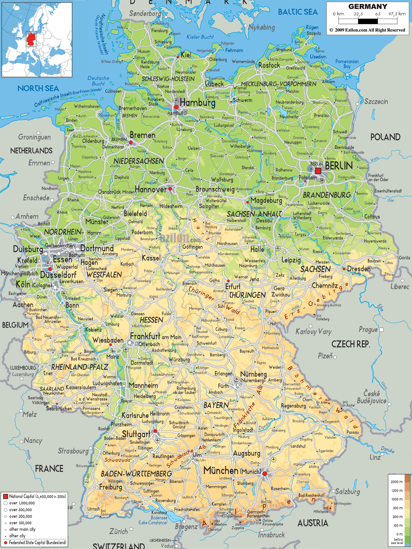 detailed physical map of germany with cities roads and airports