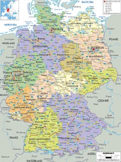 Detailed political and administrative map of Germany with cities, roads and airports.
