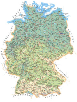 Detailed road and physical map of Germany.
