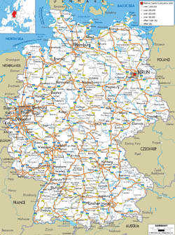 Detailed road map of Germany with cities and airports.