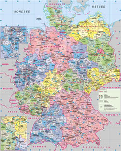 Large administrative map of Germany with roads and cities.