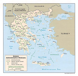 Administrative map of Greece.