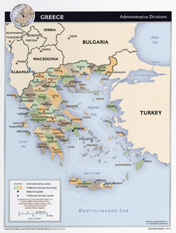Detailed administrative map of Greece.