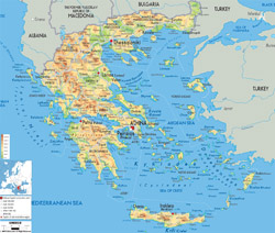 Detailed physical map of Greece with cities, roads and airports.
