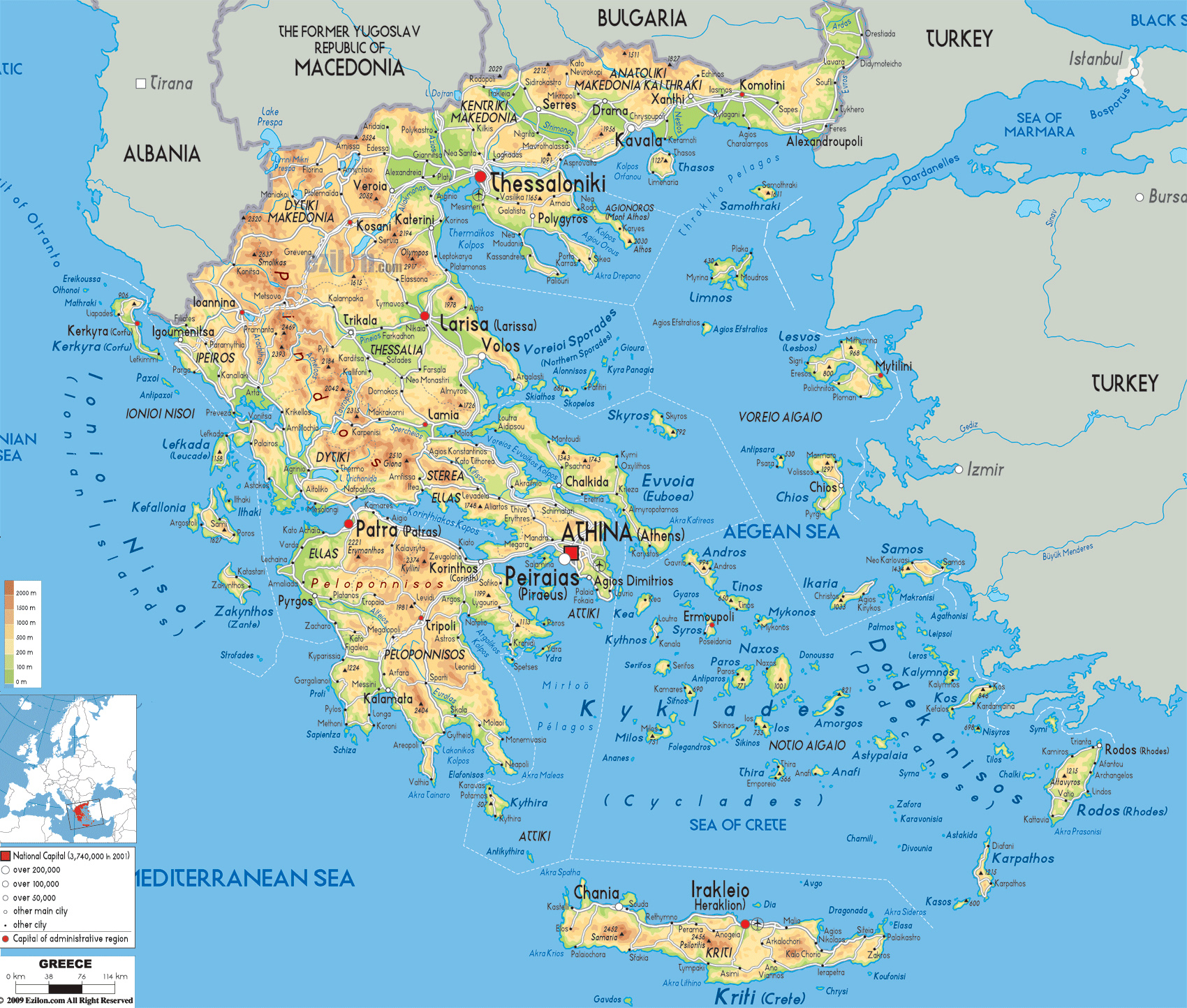 Maps of greece greece detailed map in english tourist map map detailed physical map of greece with cities roads and airports gumiabroncs Image collections
