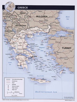 Detailed political map of Greece.