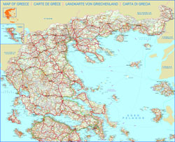 Detailed road map of Greece.