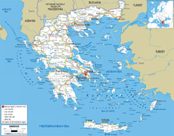 Detailed road map of Greece with cities and airports.