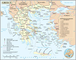 Large political and administrative map of Greece with cities, roads and airports.