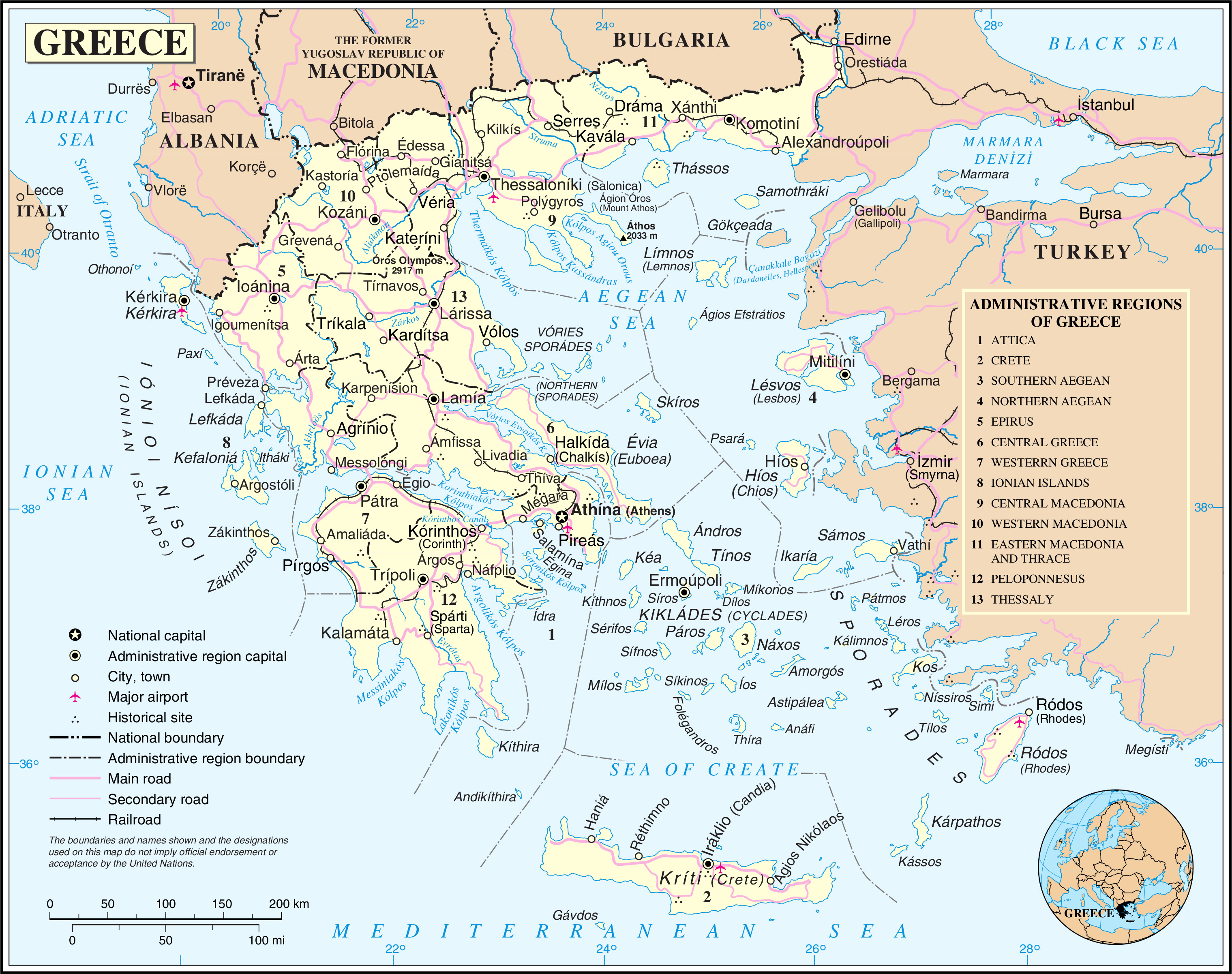 image relating to Printable Map of Greece identified as Maps of Greece Greece extensive map within just English Vacationer