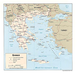 Political map of Greece.